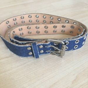 Accessories - UNISEX Denim silver stud leather belt